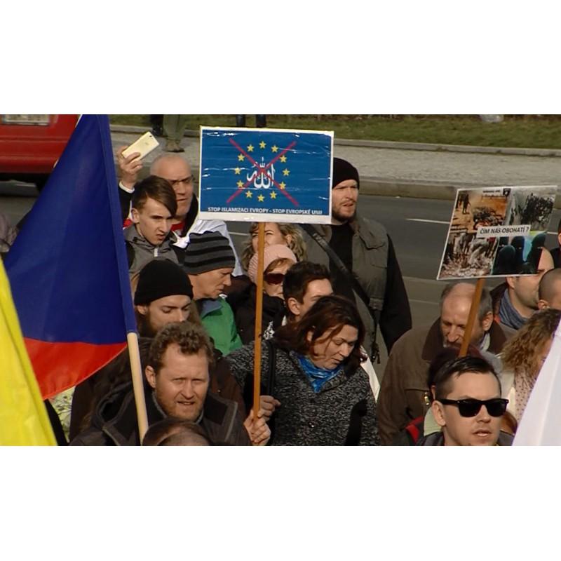 CR - Prague - Pegida - Movement Úsvit - block against Islam - demonstration - refugees