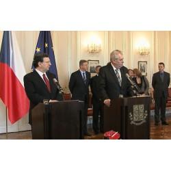 ČR - Praha - Petr Nečas - Miloš Zeman - Jose Barroso