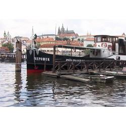 CR - Prague - ships - Prague Venice - Charles Bridge - Vltava river