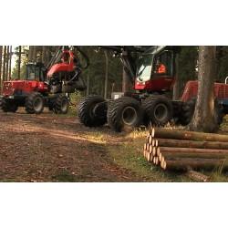 ČR - Krkonoše - lesnictví - kácení - stromy - těžká technika